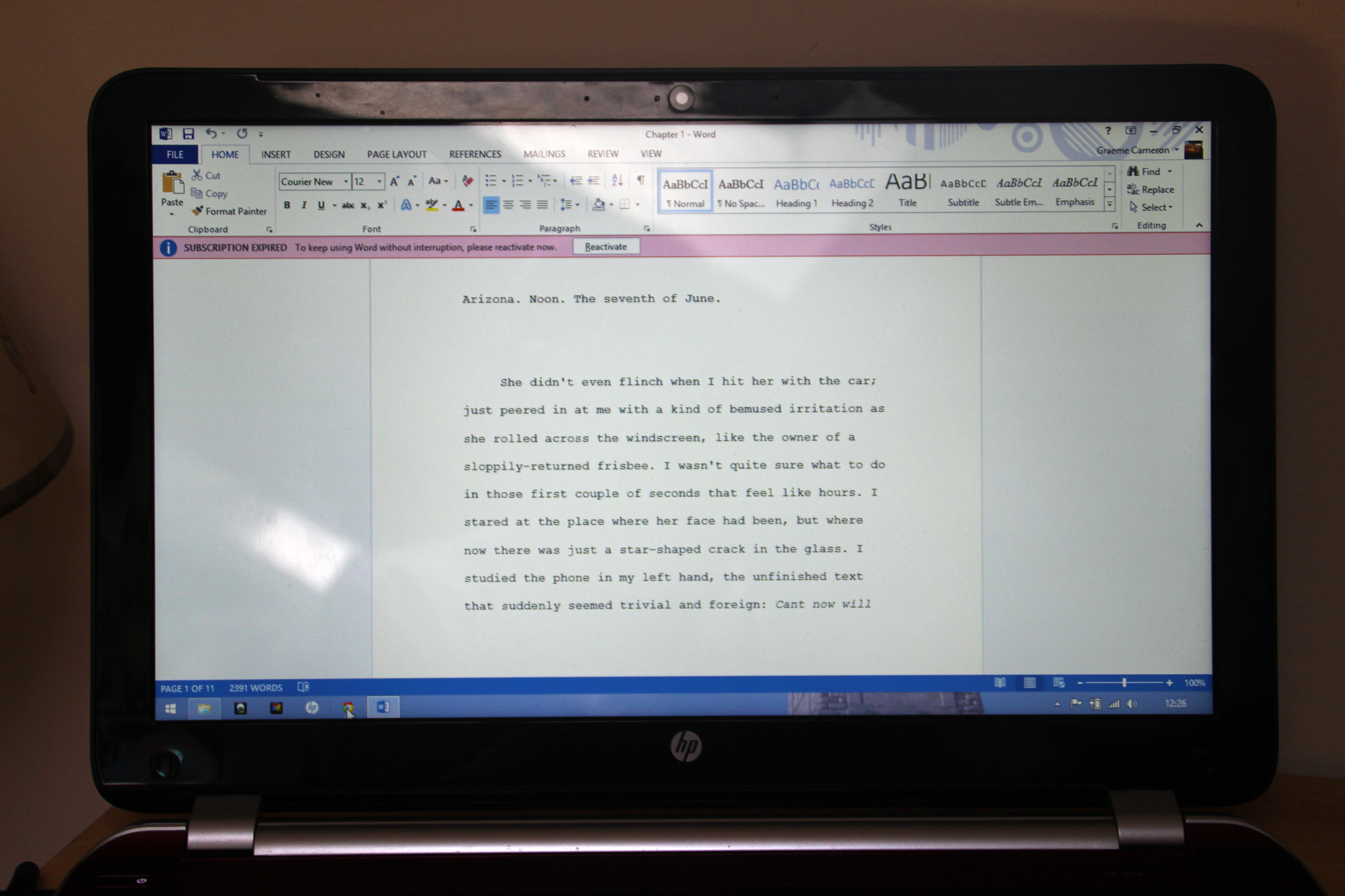 The first page of the first draft of the next book!