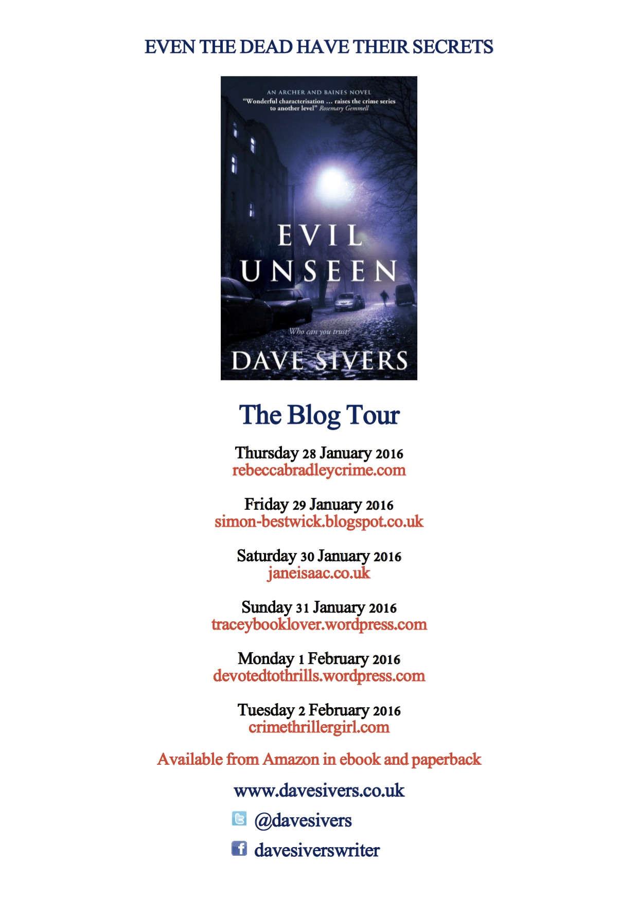 Evil Unseen by Dave Sivers – Blog Tour
